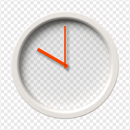 pm: Realistic Wall Clock. Ten oclock am or pm.  Transparent face. Red hands. Ready to apply. Graphic element for documents, templates, posters, flyers. Vector illustration