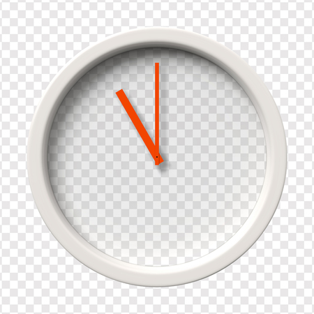 pm: Realistic Wall Clock. Eleven oclock am or pm. Transparent face. Red hands. Ready to apply. Graphic element for documents, templates, posters, flyers. Vector illustration Illustration