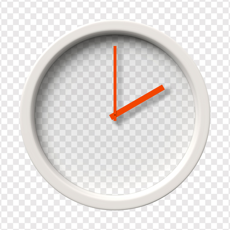o'clock: Realistic Wall Clock. Two oclock am or pm. Transparent face. Red hands. Ready to apply. Graphic element for documents, templates, posters, flyers. Vector illustration