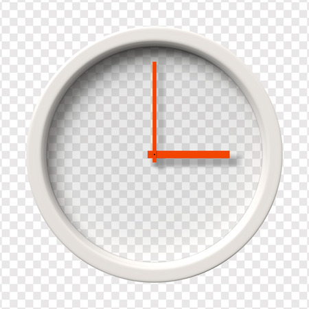 oclock: Realistic Wall Clock. Three oclock am or pm. Transparent face. Red hands. Ready to apply. Graphic element for documents, templates, posters, flyers. Vector illustration