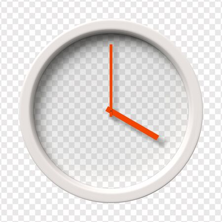 pm: Realistic Wall Clock. Four oclock am or pm. Transparent face. Red hands. Ready to apply. Graphic element for documents, templates, posters, flyers. Vector illustration