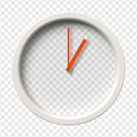 oclock: Realistic Wall Clock. One oclock am or pm. Transparent face. Red hands. Ready to apply. Graphic element for documents, templates, posters, flyers. Vector illustration