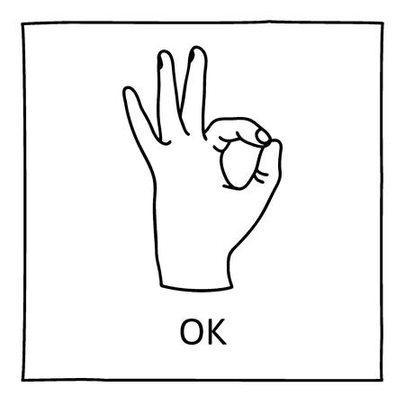 approval icon: Doodle OK icon. Hand drawn gesture symbol. Line art style graphic design element. Approval, vote, love, favorite gesture concept. Vector illustration Illustration