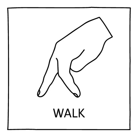 stealthy: Doodle Walk icon. Hand drawn gesture symbol. Line art style graphic design element. Approval, vote, love, favorite gesture concept. Vector illustration
