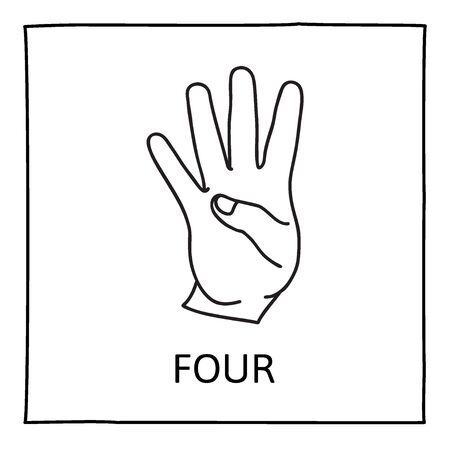 printout: Doodle Palm icon. Counting hands showing four fingers. Graphic design element for teaching math to young children as school printout. Great for showing numbers on your design in a fun and creative way.