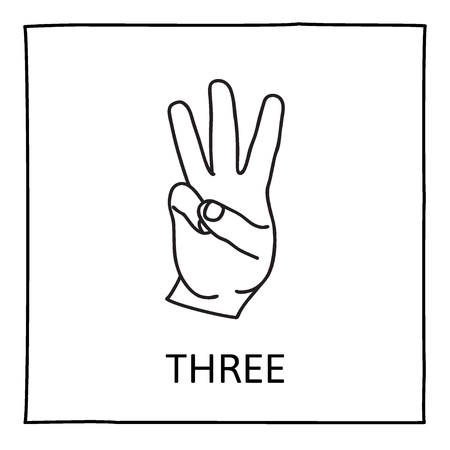 three hands: Doodle Palm icon. Counting hands showing three  fingers. Graphic design element for teaching math to young children as school printout. Great for showing numbers on your design in a fun and creative way.