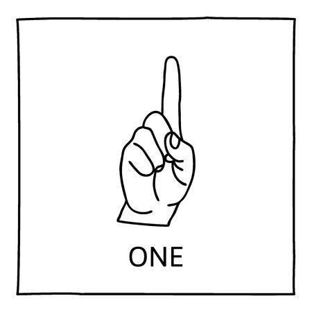 one finger: Doodle Palm icon. Counting hands showing one finger. Graphic design element for teaching math to young children as school printout. Great for showing numbers on your design in a fun and creative way.