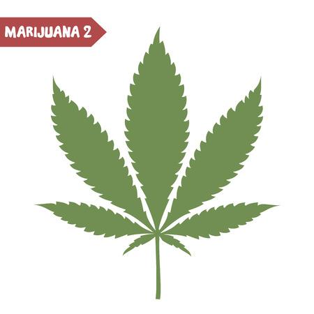 cannabinoid: Marijuana leaf. Medical cannabis leaf isolated on white. Graphic design element for web, prints, t-shirt. Vector illustration.