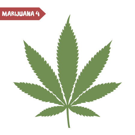 bong: Marijuana leaf. Medical cannabis leaf isolated on white. Graphic design element for web, prints, t-shirt. Vector illustration.