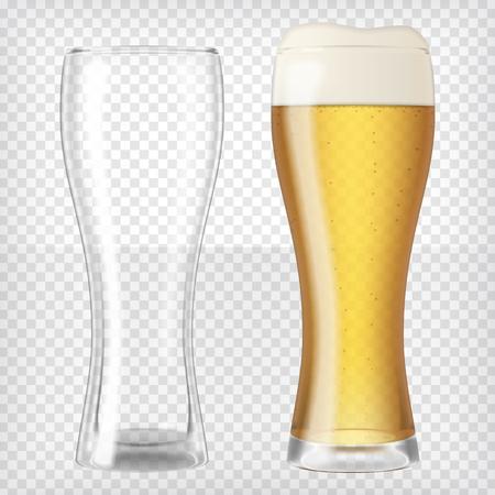Due bicchieri di birra, uno vuoto e uno pieno. Birra chiara. Trasparente elements.Ready realistico da applicare al vostro progetto. Illustrazione vettoriale. Vettoriali