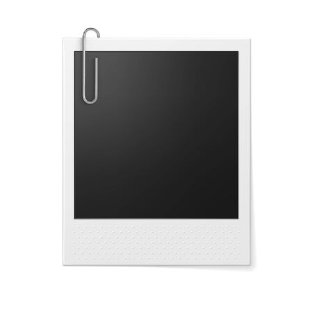 photo paper: Retro photo frame with paper clip. Photo realistic vector illustration. Illustration