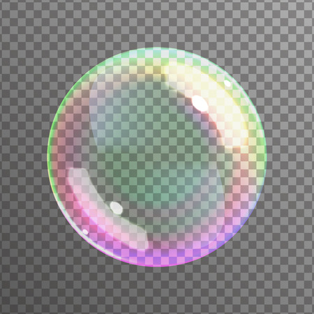 soap reflection: Soap bubble on black background. Realistic bubble with rainbow reflection. Vector illustration.