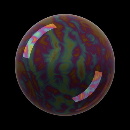 soap reflection: Soap bubble on black background. Realistic bubble with rainbow reflection. 3d illustration.