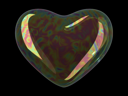 soap reflection: Heart shaped soap bubble on black background. Realistic bubble with rainbow reflection. 3d illustration.