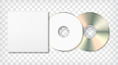 Blank disk and case template. Photo realistic blank mock up. Corporate identity. Vector illustration.