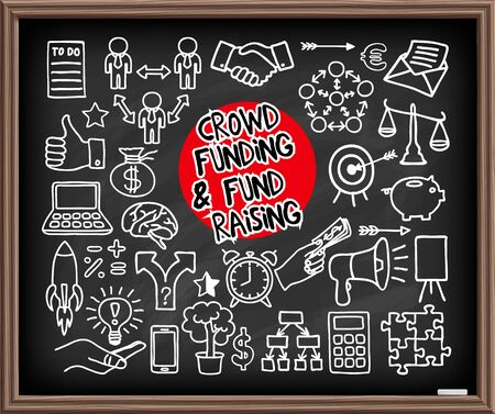 fond: Crowd funding and Fond Raising Doodle set on chalkboard. Start up, launching of new project concept. Graphic elements - thumb up, alarm clock, rocket, light bulb idea, handshake, puzzle pieces. Vector illustration Illustration