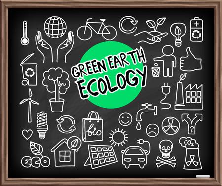 Insieme di doodle di ecologia di terra verde. Elementi grafici disegnati a mano sulla lavagna. Mani che tengono il pianeta Terra, lampadina a risparmio energetico, pannello solare, inquinamento atmosferico di fabbrica, simboli di riciclo bio ed eco. Illustrazione vettoriale