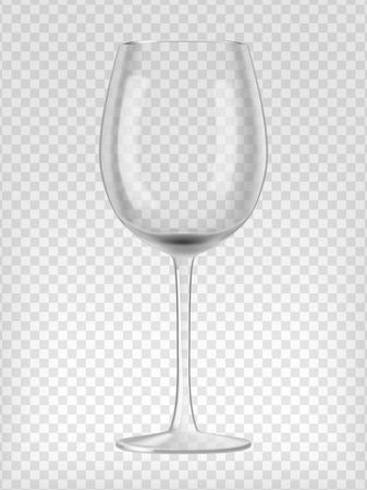 Empty wine glass. Transparent realistic vector illustration.