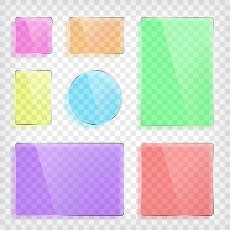 rectangle: Glass plates set. Square shape, rectangle and round. Colorful glass mock up. Transparent elements. Plastic banners with reflection and shadow. Photo realistic vector illustration