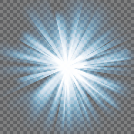 and he shines: White glowing light. Bright shining star. Bursting explosion. Transparent background. Rays of light. Glaring effect with transparency. Abstract glowing light background. Vector illustration.