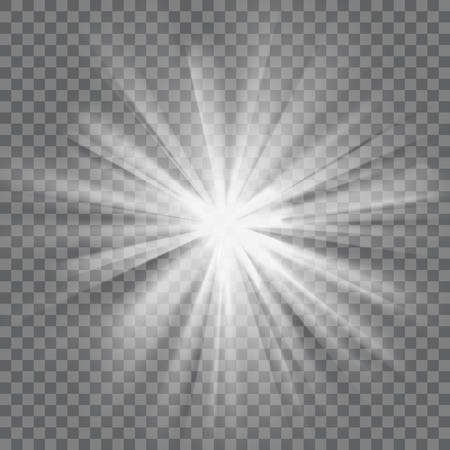glaring: White glowing light. Bright shining star. Bursting explosion. Transparent background. Rays of light. Glaring effect with transparency. Abstract glowing light background. Vector illustration.