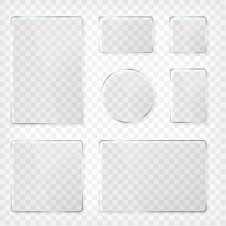 Glass plates set. Square shape, rectangle and round. See through mock up. Transparent elements. Plastic banners with reflection and shadow. Photo realistic vector illustration Illustration