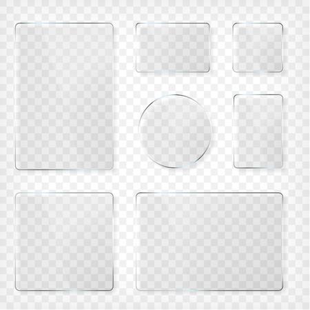objetos cuadrados: Las placas de vidrio fijados. forma cuadrada, rectangular y redonda. Ver a través de maqueta. elementos transparentes. banderas de plástico con la reflexión y la sombra. Foto ilustración realista del vector