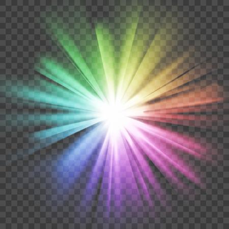 Luce incandescente colorata. Stella luminosa splendente. Esplosione esplosiva. Sfondo trasparente. Raggi di luce. Effetto abbagliante con trasparenza. Astratto sfondo chiaro incandescente. Illustrazione vettoriale