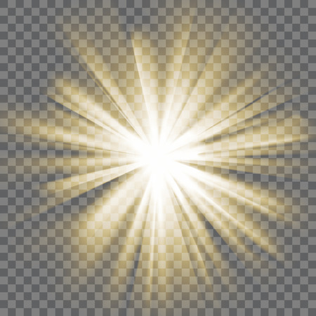 luce incandescente gialla. I raggi del sole. Scoppio esplosione. Sfondo trasparente. Raggi di luce. effetto abbagliante con la trasparenza. Abstract glowing sfondo chiaro. Illustrazione vettoriale.