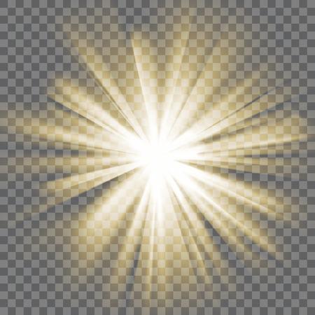 luz brillante de color amarillo. Rayos de sol. De ruptura explosión. Fondo transparente. Rayos de luz. efecto que se deslumbra con la transparencia. Resumen brillante fondo claro. Ilustración del vector.