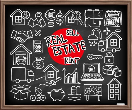 lending: Real Estate set. Freehand doodle icons on chalkboard. Graphic design elements - selling house, moving, boxes, lending money symbols and more. Vector illustration