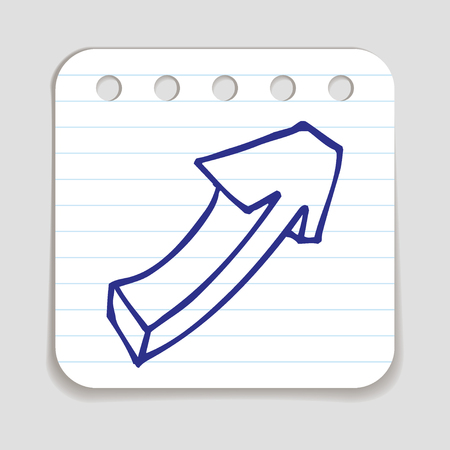 blue pen: Doodle Arrow icon. Blue pen hand drawn infographic symbol on a notepaper piece. Line art style graphic design element. Web button with shadow. Direction, growth, going up,  progress concept.