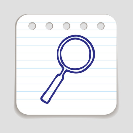 art piece: Doodle Magnifying Glass icon. Blue pen hand drawn infographic symbol on a notepaper piece. Line art style graphic design element. Web button with shadow. Search, looking up concept.