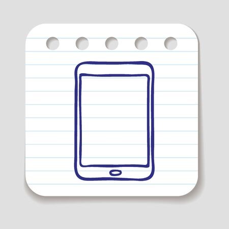 touch pad: Doodle Tablet Touch Pad PC icon. Infographic symbol in a circle. Line art style graphic design element. Web button. Technology computer web application concept