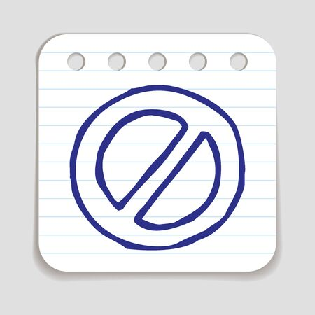 art piece: Doodle Prohibition icon. Blue pen hand drawn infographic symbol on a notepaper piece. Line art style graphic design element. Web button with shadow.  Forbidden, danger, no entry concept.