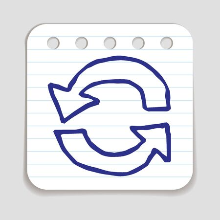 blue pen: Doodle Recycle Arrows icon. Blue pen hand drawn infographic symbol on a notepaper piece. Line art style graphic design element. Web button with shadow. Loading, reload, pre-loader, ecology concept.
