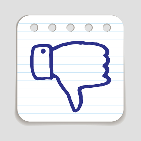 dissatisfied: Doodle Thumbs Down icon. Blue pen hand drawn infographic symbol on a piece of notepaper. Line art style graphic design element. Web button with shadow. Disapproval, dislike, vote down gesture concept
