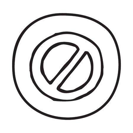 direction sign: Doodle Prohibition icon. Infographic symbol in a circle. Line art style graphic design element. Web button. Forbidden, danger, no entry concept. Illustration
