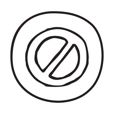 educative: Doodle Prohibition icon. Infographic symbol in a circle. Line art style graphic design element. Web button. Forbidden, danger, no entry concept. Illustration