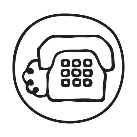 client service: Doodle Telephone icon. Infographic symbol in a circle. Line art style graphic design element. Web button.  Client service, phone call, telecommunication concept Illustration