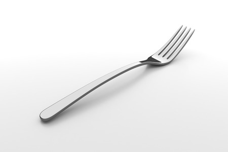 silverware: Silver fork. Fine cutlery on grey background. Single fork on a table. Silverware with shadow. 3D illustration.