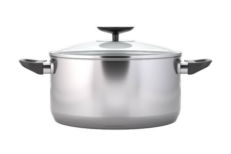 stainless steel kitchen: Cooking pot. Stainless steel pot with black handles. Soup pot with a lid. Kitchen stainless dishware. Isolated on white background. 3D illustration Stock Photo