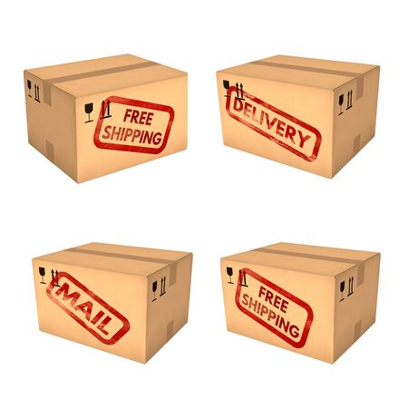 shipping boxes: Shipping boxes set. Free shipping. Mail and delivery labels. Closed cardboard boxes. Isolated on white background. Retail, logistics, delivery and storage concept. 3D illustration.