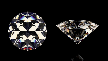 photorealistic: Shiny white diamond. Isolated on black background. Top and side view. High quality photo realistic image. 3D illustration.