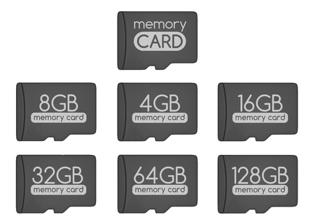 capacity: MicroSD memory cards set. Top view. Generic memory card and different capacity cards. Isolated on white. 3D illustration.