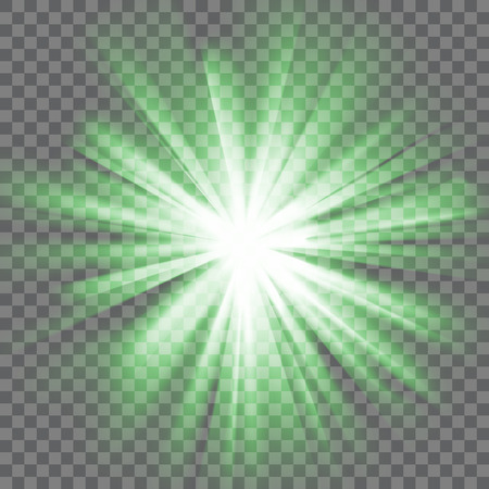 he is beautiful: Green glowing light. Bright shining star. Bursting explosion. Transparent background. Rays of light. Glaring effect with transparency. Abstract glowing light background. Vector illustration. Illustration
