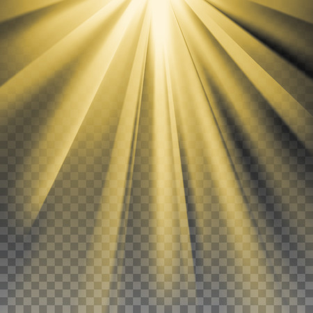 Yellow sun rays. Warm orange flare. Glaring effect with transparency. Abstract glowing light background. Ready to apply. Graphic element for documents, templates, posters, flyers. Vector illustration Stock Illustratie