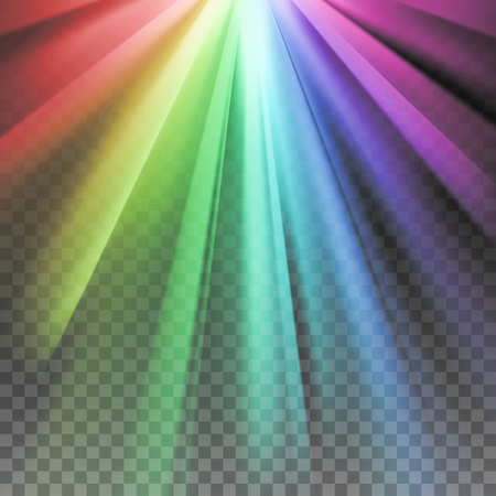 the light rays: Rainbow rays. Color spectrum flare. Glaring effect with transparency. Abstract glowing light background. Ready to apply. Graphic element for documents, templates, posters, flyers. Vector illustration Illustration