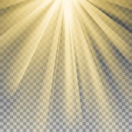 Gelbe Sonnenstrahlen. Warme Orange Akzent. Glänzen Effekt mit Transparenz. Zusammenfassung leuchtenden hellen Hintergrund. Bereit anzuwenden. Grafikelement für Dokumente, Vorlagen, Plakate, Flyer. Vektor-Illustration Vektorgrafik