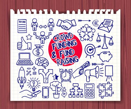 fond: Crowd funding and Fond Raising. Doodle icons pen on paper. Start up, launching of new project concept. Graphic elements thumb up, alarm clock, light bulb idea, handshake, puzzle. Vector illustration